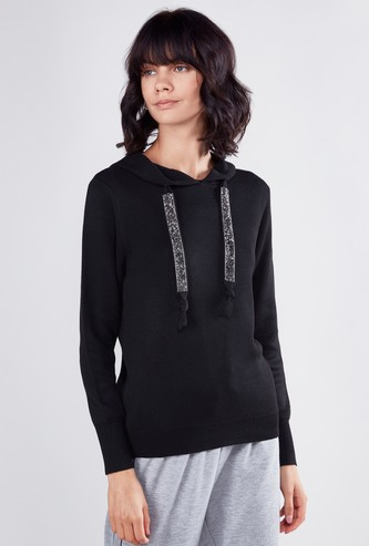 Embellished Sweatshirt with Hood and Long Sleeves