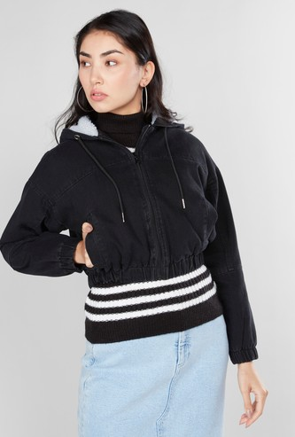 Plain Bomber Jacket with Hood and Long Sleeves