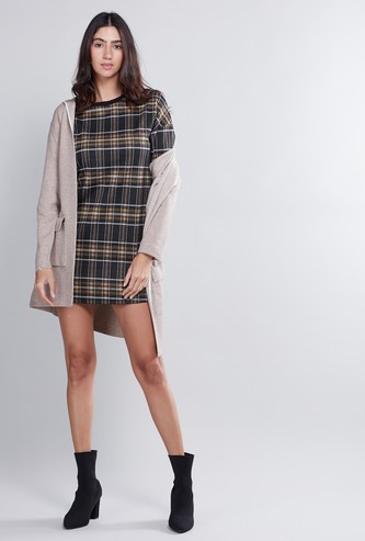 Chequered Mini Shift Dress with 3/4 Sleeves