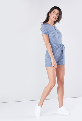 Checked Playsuit with Short Sleeves and Side-Knot Styling