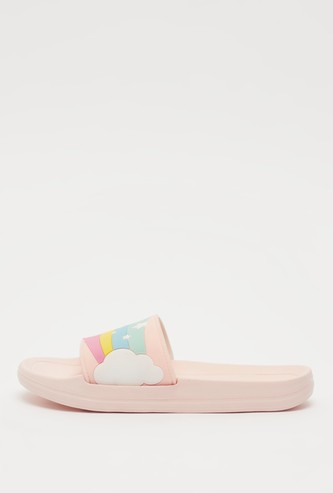 Slip-On Beach Slippers with Rainbow Pattern Vamp