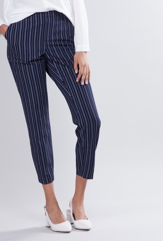 Striped Capri Trousers with Elasticised Waistband and Pocket Detail