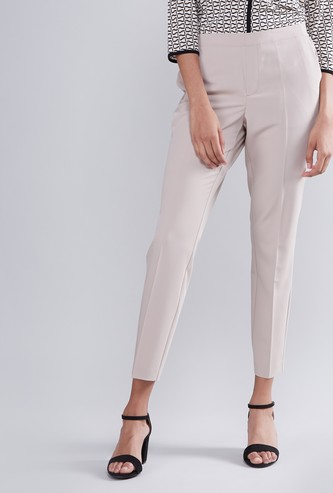 Solid Cropped Trousers