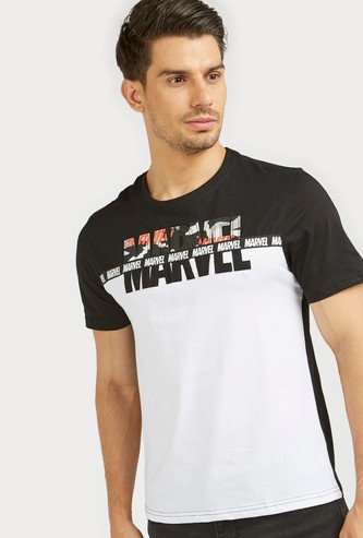 Marvel Cut and Sew T-shirt with Round Neck and Short Sleeves