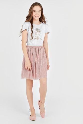 فستان بياقة مستديرة وأكمام قصيرة وترتر من ميني ماوس