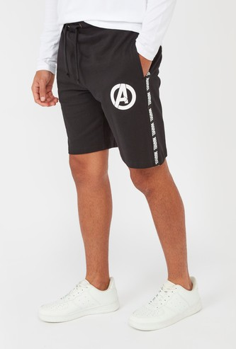 Avenger Logo Print Mid-Rise Shorts with Pocket Detail and Drawstring