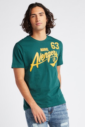 Avengers Print T-shirt with Short Sleeves