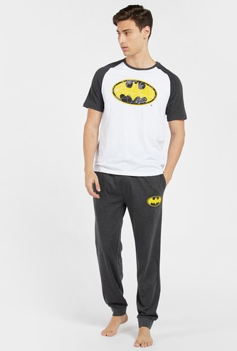 Batman Print Short Sleeves T-shirt and Full Length Pyjama Set
