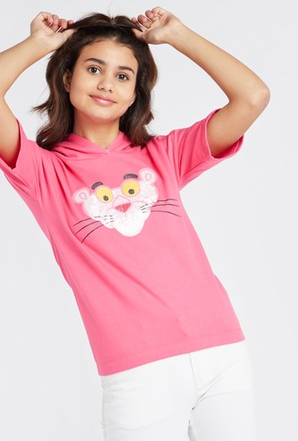Pink Panther Print T-shirt with Hoodie and Short Sleeves