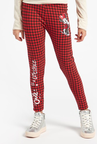 Houndstooth Full Length Leggings with Elasticated Waistband
