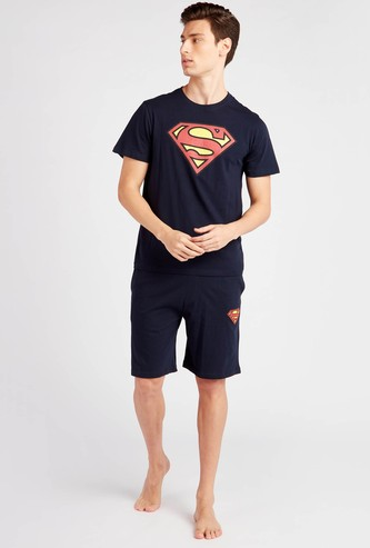 Superman Print Round Neck T-shirt and Shorts Set