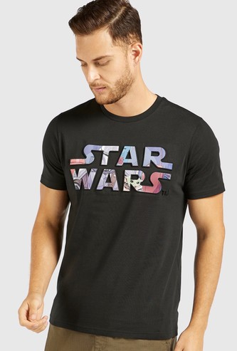 Star Wars Embossed Print T-shirt with Short Sleeves