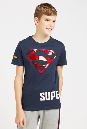 Superman Graphic Print T-Shirt with Round Neck and Short Sleeves