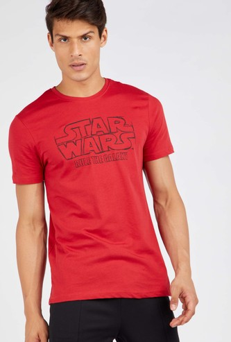 Star Wars Graphic Print T-shirt with Round Neck and Short Sleeves