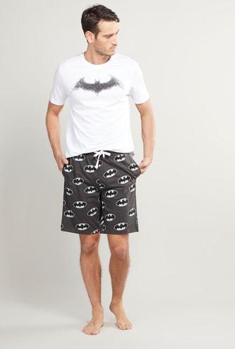 Batman Logo Printed T-shirt and Shorts Set