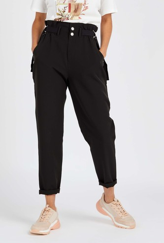 Solid Mid-Rise Paper Bag Pant with Side Belt Detail