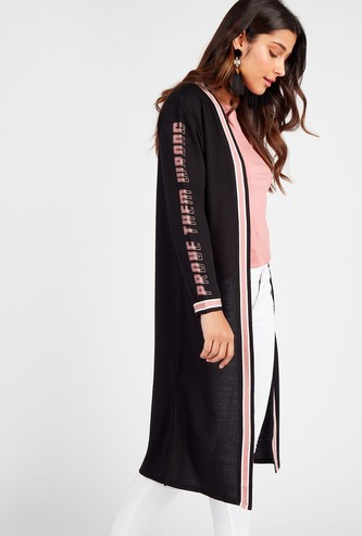 Printed Longline Shrug with Long Sleeves