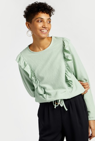 Frill Detail Top with Round Neck and Long Sleeves