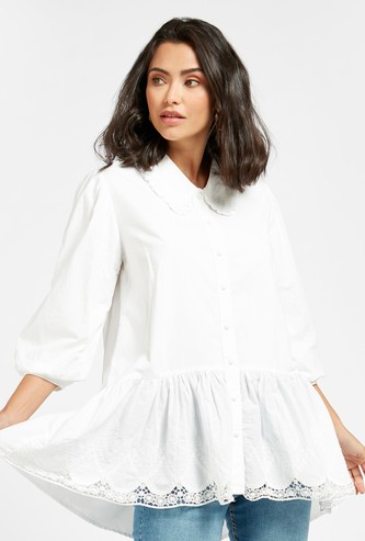 Embroidered Peplum Shirt with 3/4 Sleeves and Button Closure