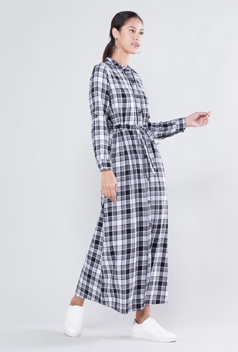 Checked Maxi Shirt Dress with Long Sleeves
