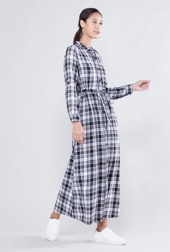 فستان قميص طويل كاروهات بأكمام طويلة