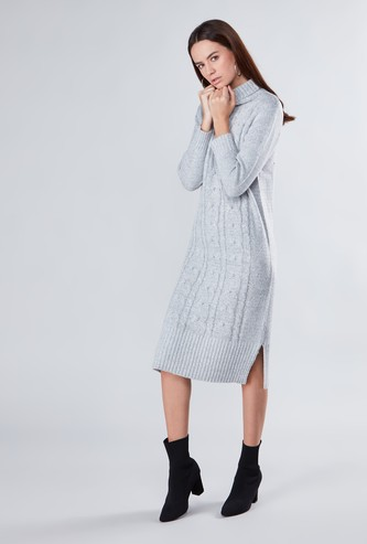Textured Midi Shift Sweater Dress with Roll Neck and Long Sleeves