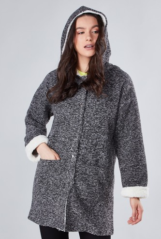 Textured Overcoat with Long Sleeves and Hood