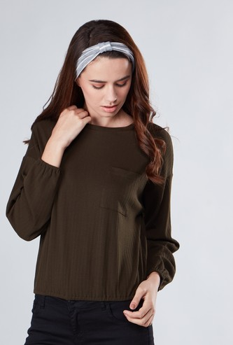Textured Top with Pocket Detail and Long Sleeves