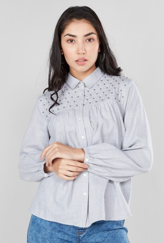Embellished Shirt with Spread Collar and Long Sleeves