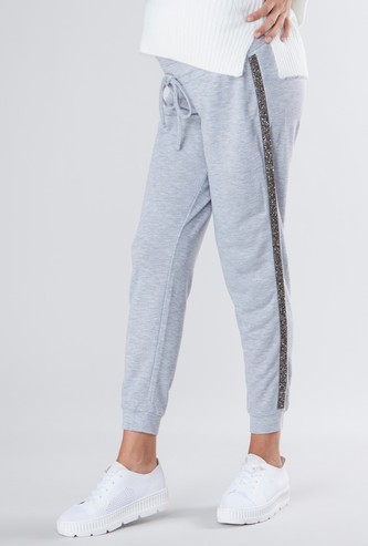 Maternity Plain Jog Pants with Elasticised Waistband and Tape Detail