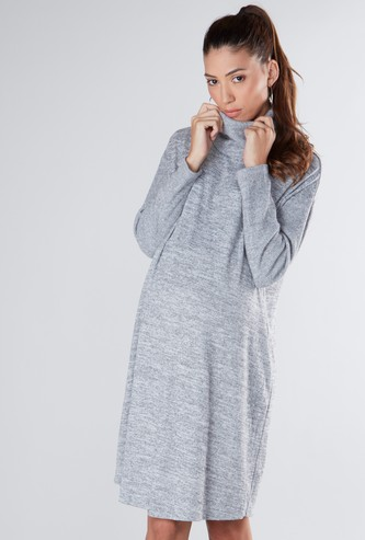 Maternity Textured Midi Shift Dress with Turtle Neck and Long Sleeves