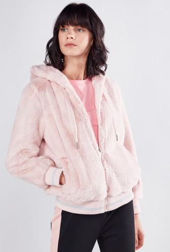 Fur Detailed Jacket with Long Sleeves and Zip Closure