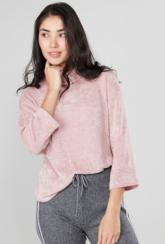 Textured Boxy Top with Turtle Neck and 3/4 Sleeves