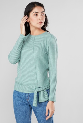 Textured Top with Long Sleeves and Knot Detail