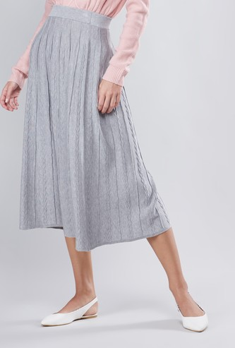 Textured A-line Midi Skirt with Elasticated Waistband