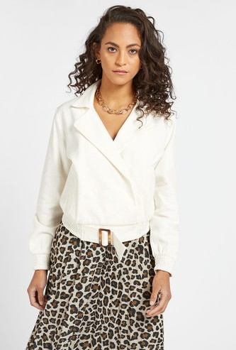 Solid Jacket with Long Sleeves and Pocket Detail
