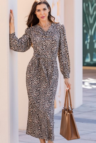 Animal Print A-line Midi Dress with Long Sleeves