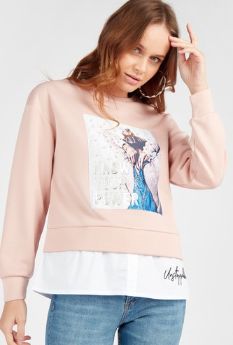 Graphic Print Layered Sweat Top with Round Neck and Long Sleeves