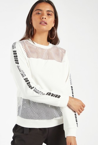 Text Print Sweatshirt with Long Sleeves and Mesh Panel