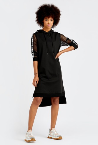 Solid Knee Length Shift Dress with Mesh Long Sleeves and Hood