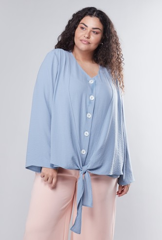 Front Knot Detail Top with V-Neck and Long Sleeves
