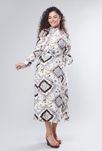 Printed Midi Shirt Dress with Tie Ups and Long Sleeves