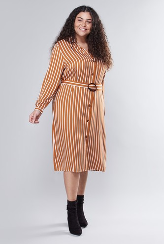 Striped Midi Shirt Dress with Fabric Belt