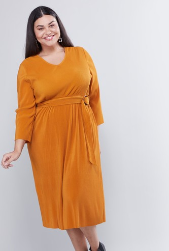 Plain Midi A-line Dress with 3/4 Sleeves and Belt