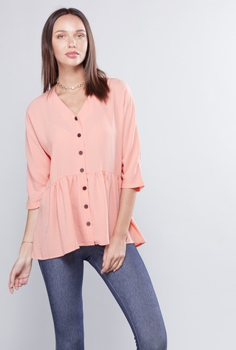 Plain Drop Hem Tunic Top with V-Neck and 3/4 Sleeves