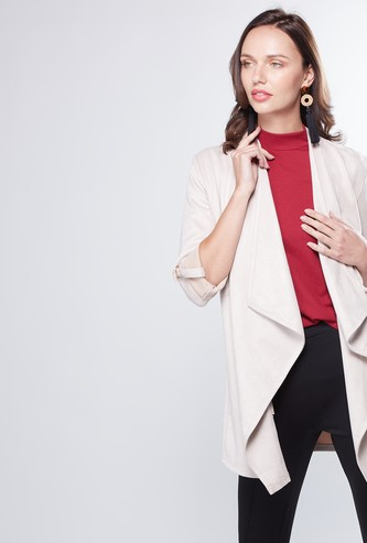 Plain Waterfall Jacket with Long Sleeves and Tie-Ups