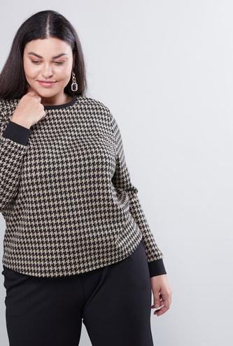 Houndstooth Print Sweatshirt with Long Sleeves