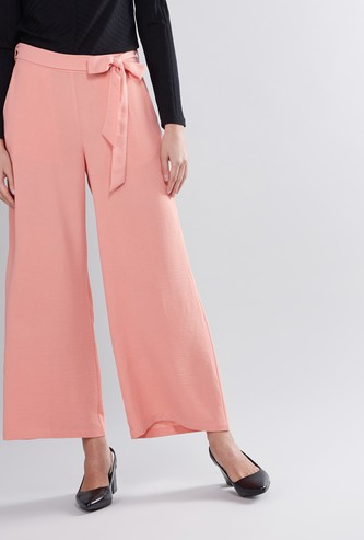 Plain Mid Waist Palazzo Pants with Belt Loops and Tie Ups