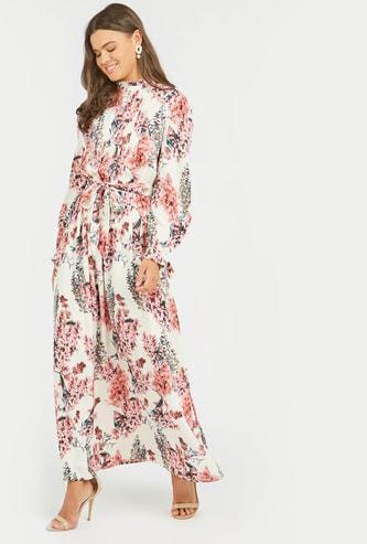 فستان طويل ايه لاين بأكمام بيشوب وأربطة وطبعات أزهار