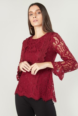Lace Detail Peplum Top with Long Sleeves